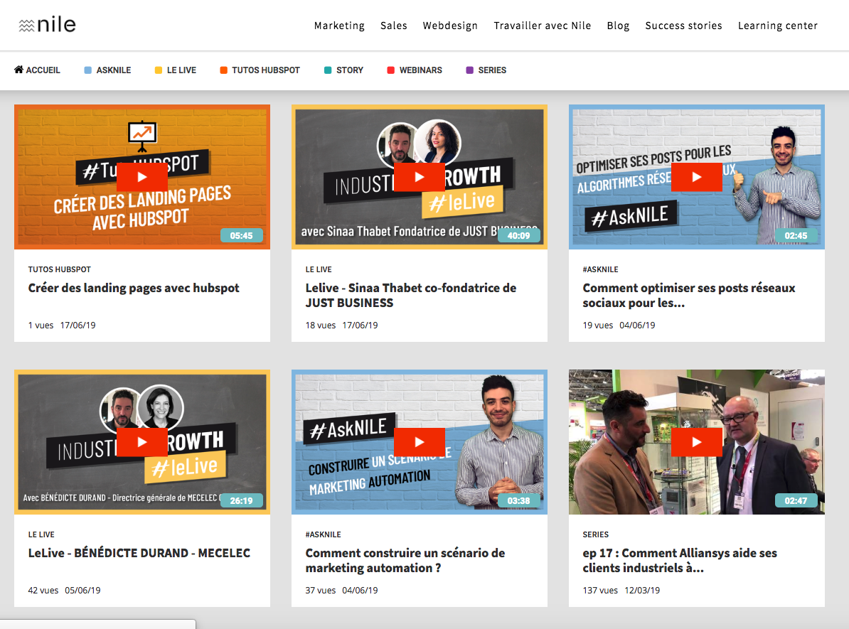 plateforme video marketing Agence Nile