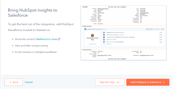 integration de hubpsot dans salesforce