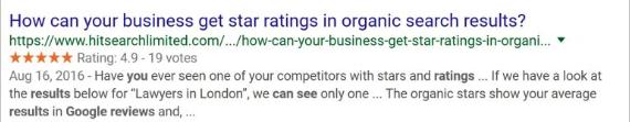 exemple étoiles en rich snippet - avis clients B2B